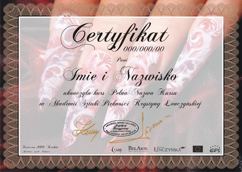 Certyfikat Akryl Na Formie Silikonowej