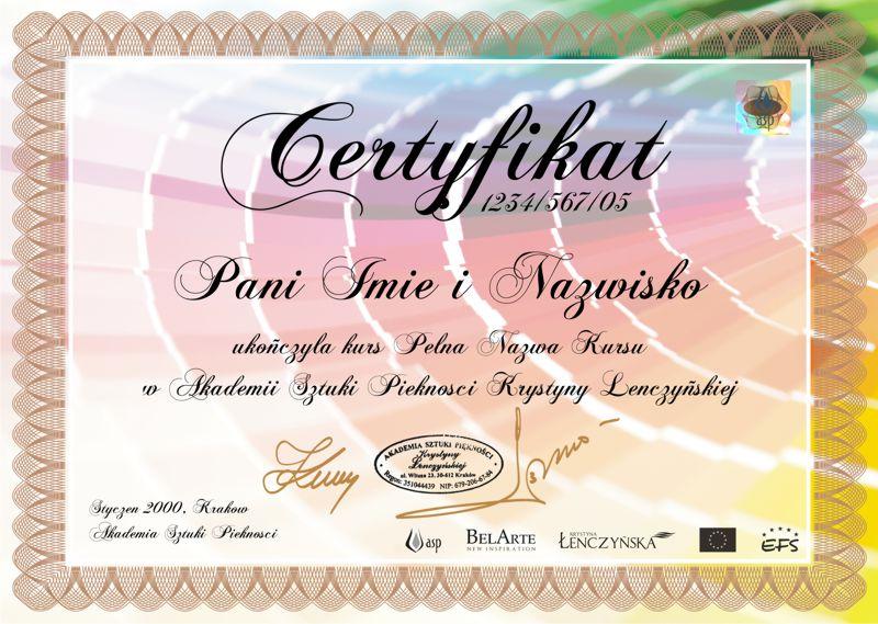 Certyfikat Analiza Kolorystyczna