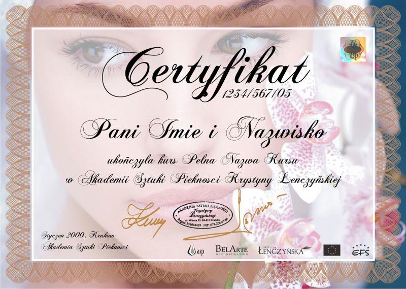 Certyfikat Kosmetyka Kurs Kosmetyczny