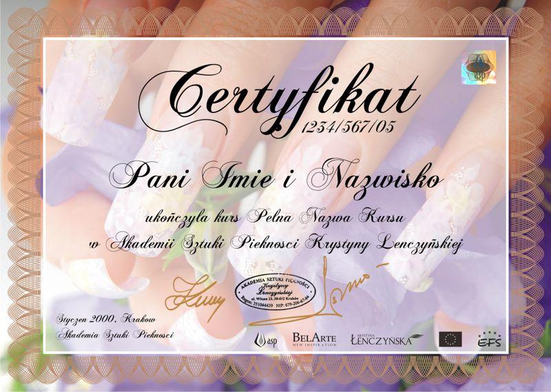 Certyfikat Manicure i Stylizacji Paznokci