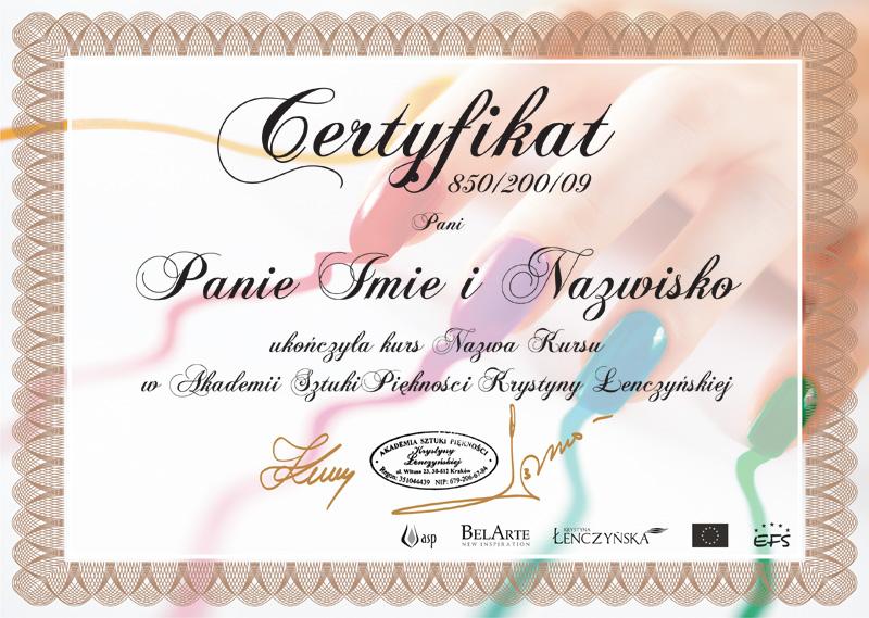 Certyfikat Paznokcie Hybrydowe